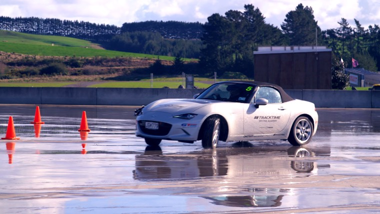 Skid pan driver training with Mazda MX5
